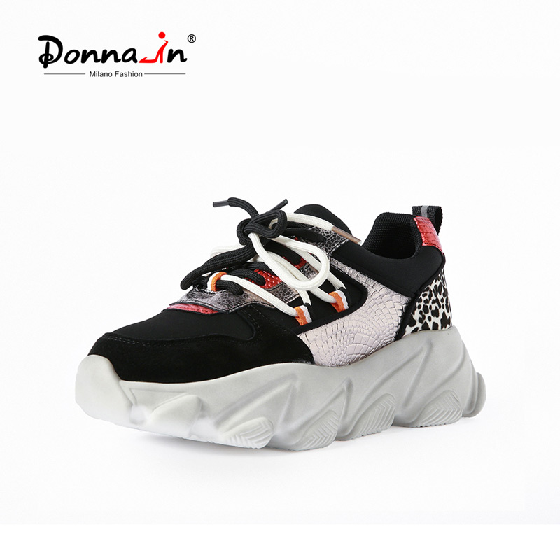 Donna-in Leopard High Platform Chunky Sneakers Women 2020 Breathable Cow Leather Lace Up Women Shoes Flat Casual Cozy Round Toe