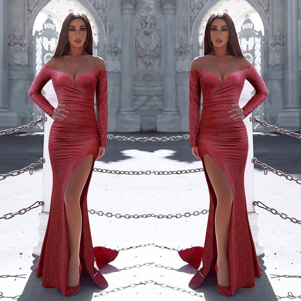 Sexy Offf The Shoulder Long Sleeves High Side Slit Fork Slim Hip Fishtail Evening Dress Robe De Soiree