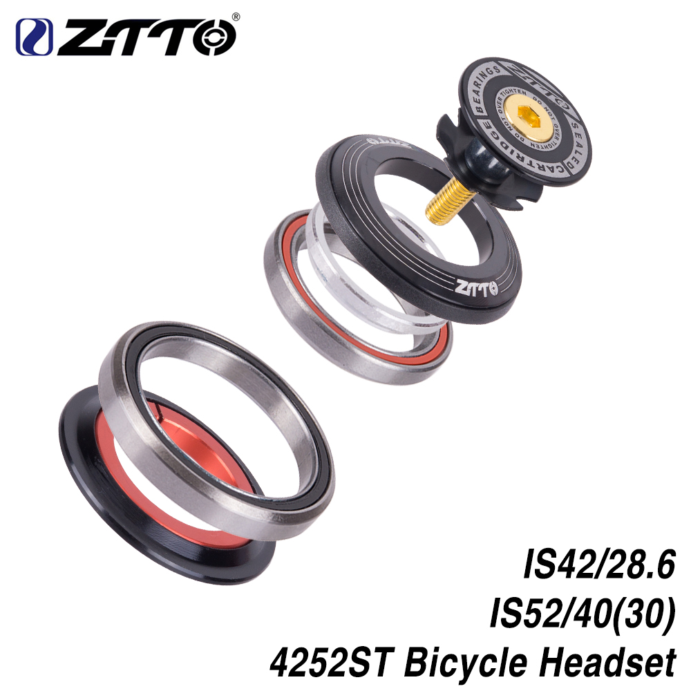 "ZTTO 4252ST MTB Bike Road Bicycle Headset 42 41.8 52mm 1 1/8"" 1 1/2"" Tapered Straight Fork Integrated Angular Contact Bearing"