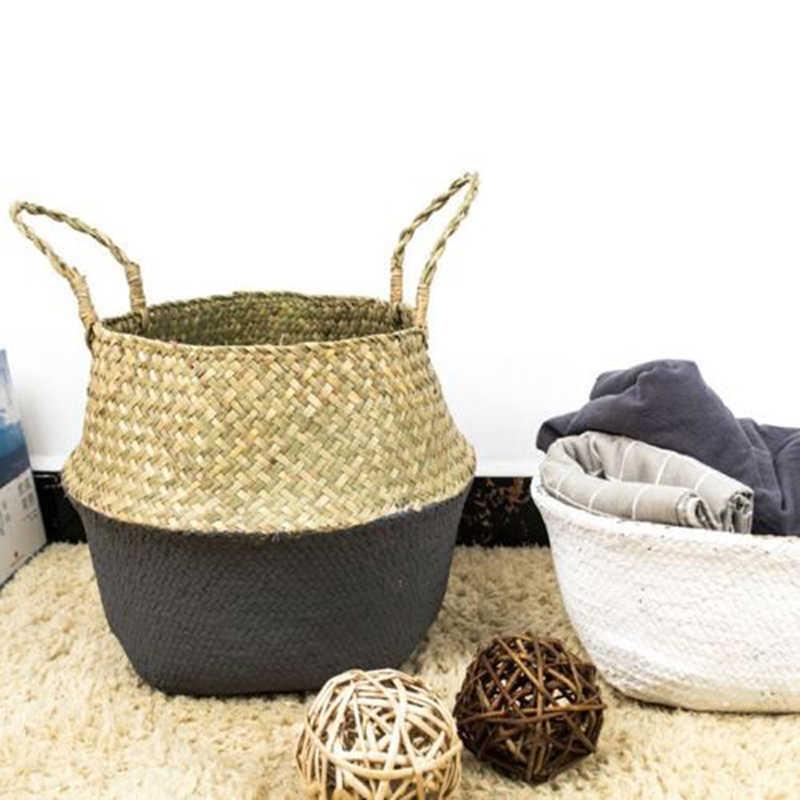 ไม้ไผ่ใหม่ตะกร้าซักผ้าพับได้ Straw Patchwork หวาย Seagrass Belly สวนดอกไม้หม้อ Planter ตะกร้า