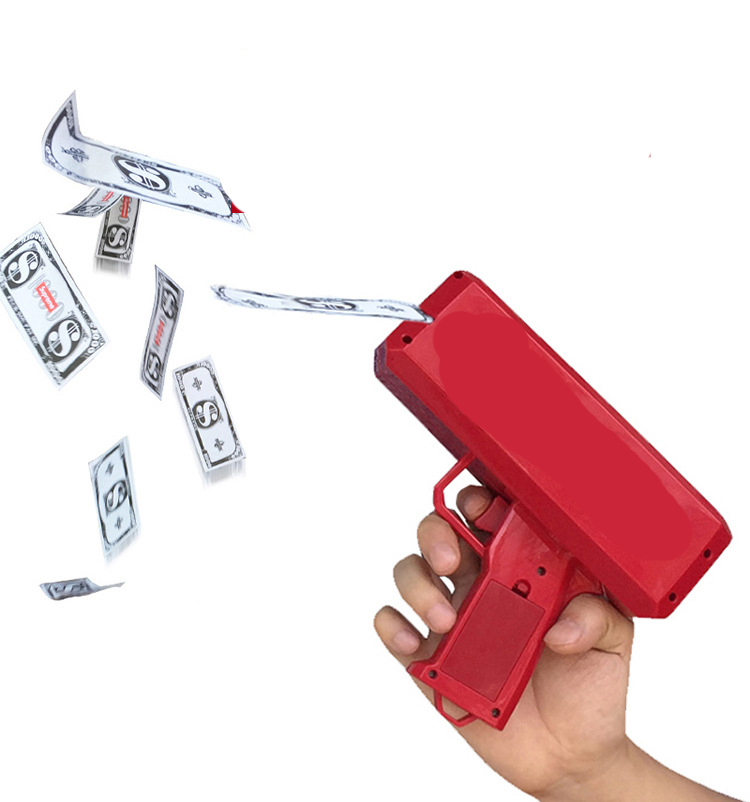 Make It Rain Money Gun Red Fashion Toy Christmas Gift Party Toys Game Spit Banknotes Cash Cannon Money Gun Toy Pistol Toy