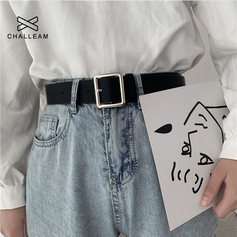 Unisex PU Leather Belt Women Square Buckle Pin Buckle Jeans Black Belts Men Luxury Brand Female Black Strap Ladies Waistband 404