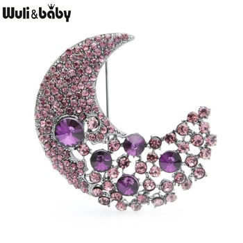 Wuli&baby Purple White Crystal Moon Brooches Women Men Crescent Weddings Banquet Brooch Pins Gifts moon brooch black antique silver the first lunar month moon sun brooches pins for men and women full rhinestone jewelry pin