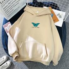 Zimowe ponadgabarytowe bluzy damskie bluzy Harajuku nadruk z motylem bluza z kapturem estetyczna bluza z kapturem wiosna damska z kapturem Streetwear tanie tanio Dihope COTTON CN (pochodzenie) Wiosna jesień REGULAR Pełna Dzianiny 300g Swetry WOMEN Cartoon Na co dzień Osób w wieku 18-35 lat