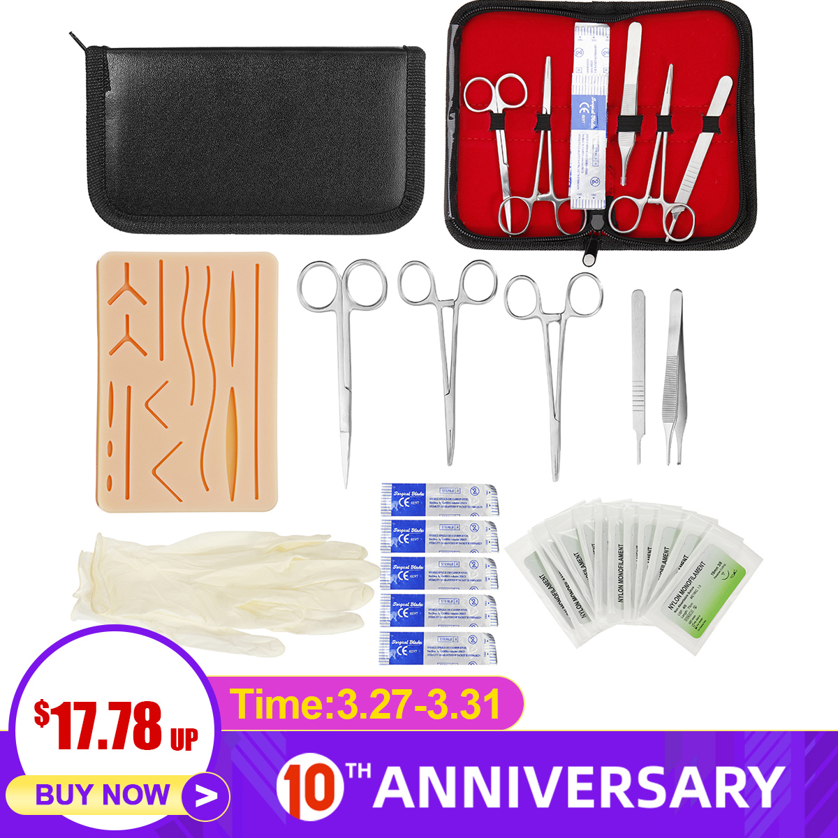 25 In 1 Medical Skin Surgical Suture Training Kit Operate Suture Practice Training Silicone Pad Needle Scissors Tool Kit