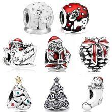 Natal festivo twinkling árvore sleighing santa neve globo moose meia contas ajuste europa pulseira 925 prata esterlina charme