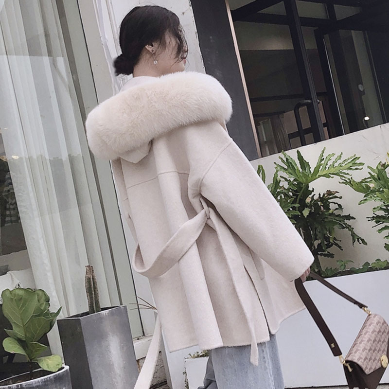 Korea Hooded Cashmere Long Coat With Hood Real Fox Fur Hood Trim Women Warm Large Jacket Female Hooded Outwear Spring Loose Coat
