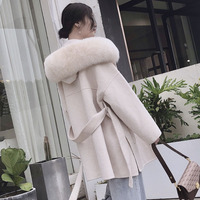Korea Hooded Cashmere Long Coat With Hood Real Fox Fur Hood Trim Women Warm Large Jacket Female Hooded Outwear Spring Loose Coat