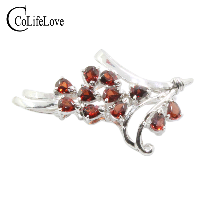 CoLife Jewelry 925 Silver Brooch for Party 11 Pieces Natural Garnet Brooch for Daily Wear Sterling Silver Brooch with Gemstone