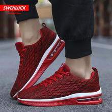 Casual Men Shoes Fashion Wild Sports Red Shoes Fly Woven Upper Outdoor Breathable Comfortable Shoes Youth Air Cushion Sneakers