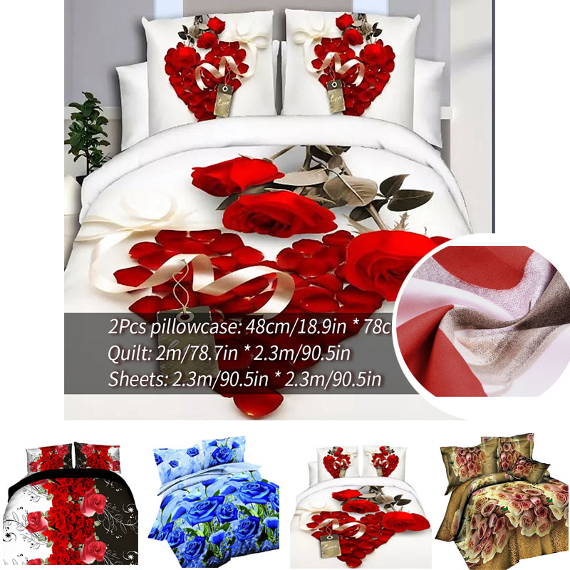 Classic bedding set print red flower bed linen 4pcs/set duvet cover set Pastoral bed sheet side duvet cover 2020 bed hot