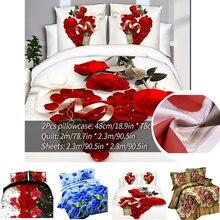 Ensemble de literie classique imprimer rouge fleur linge de lit 4 pièces/ensemble housse de couette ensemble pastorale drap de lit côté housse de couette 2020 lit chaud