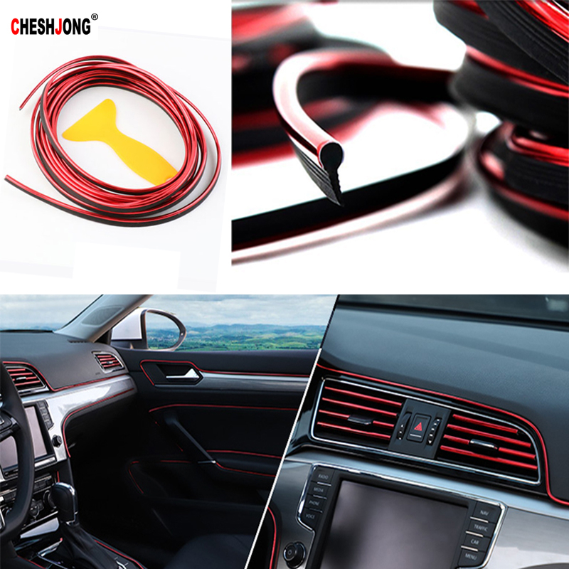 5M Car Styling Interior Parts Stickers Decoration Door Strip Moulding Car Door Dashboard Moulding Trim Air Outlet Steering Strip