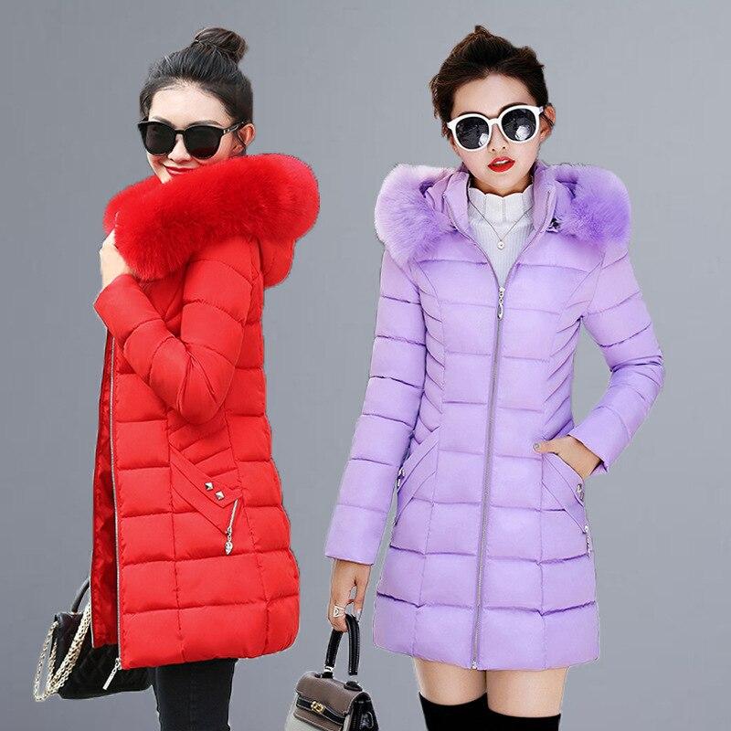 Women Winter Jackets Coats 2019 New Down cotton Hooded   Parkas   Feminina Warm Outwear Faux Fur Collar Plus Size 3XL Long Coats-80