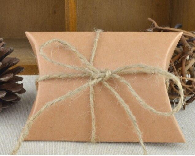 10 шт. коробка конфет сумка крафт бумага Подушка Форма свадебный подарок Коробки пирог вечерние коробка сумки эко дружественные крафт-продвижение - Цвет: craft with rope