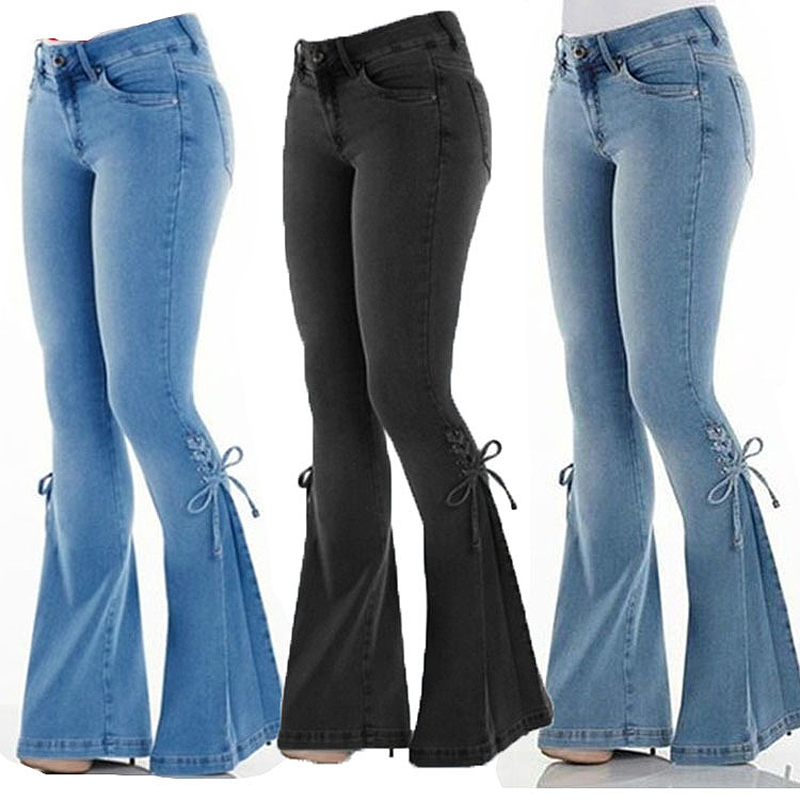 Sexy Stretching High Waist Flare Women Jeans Fashion Bell Bottom Blue Skinny Denim Autumn Jeans Retro Lacing Women Pant Trousers
