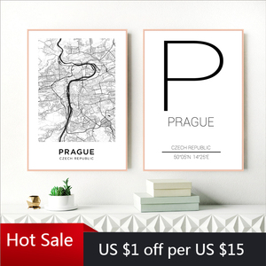 Prague City Poster Czech Republic Map Print Modern Canvas Painting Wall Decor Art Pictures For Czechia Living Home Room Decorati