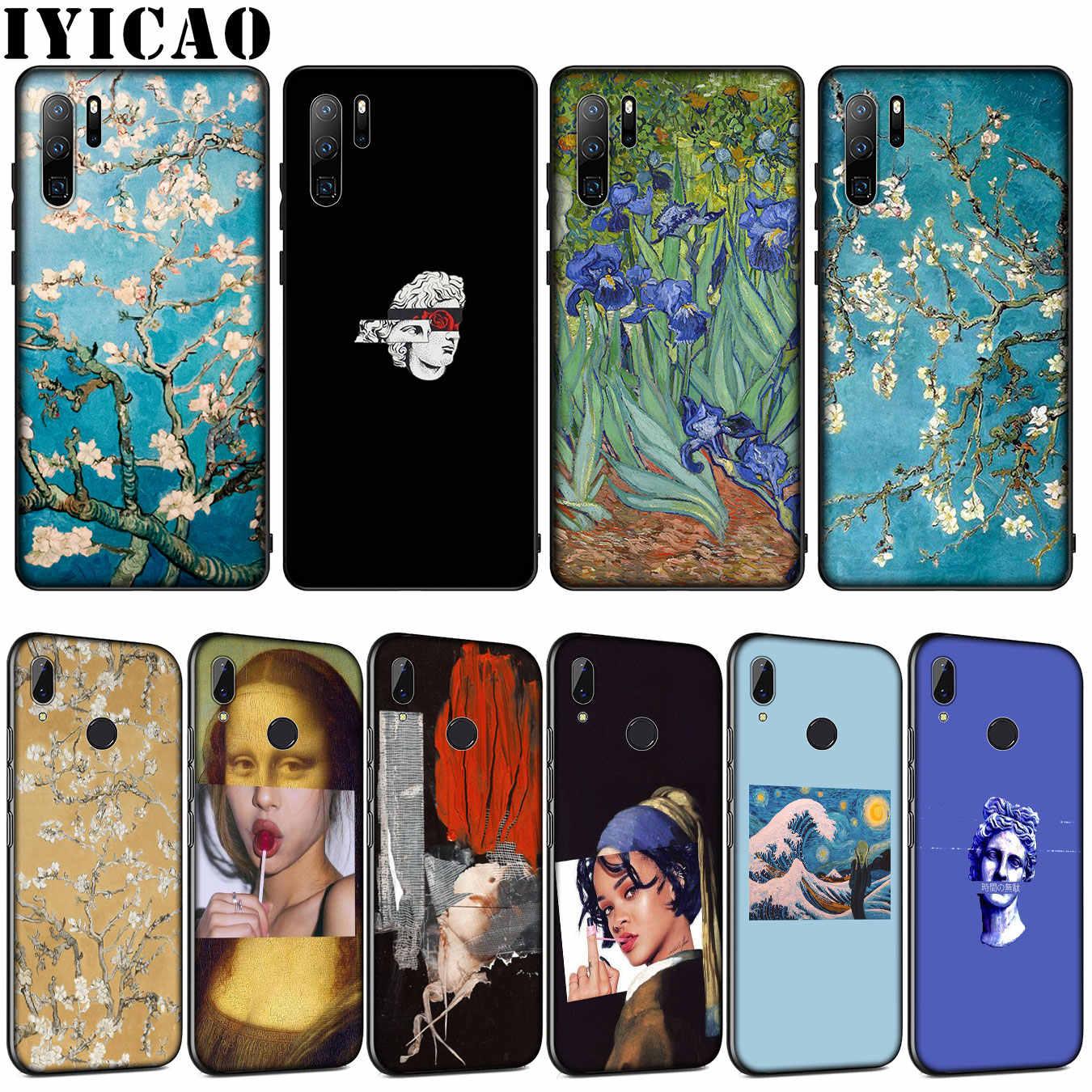 IYICAO arte estética van Gogh pintura flor suave caso de Huawei P30 P20 Pro P10 P9 Lite 2017 Mini 2016 P Smart Z Plus 2019