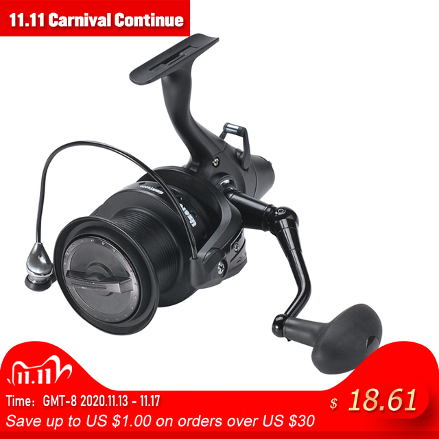 12+1 Double Drag Carp Fishing Reel Spinning Reel with Front and Rear Left Right Interchangeable Wheels for Saltwater Freshwater