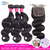 Body Wave Bundles With Closure 5x5 Closure With Bundles Brazilian Hair Weave Bundles Human Hair Bundles Remy Hair Extension BY