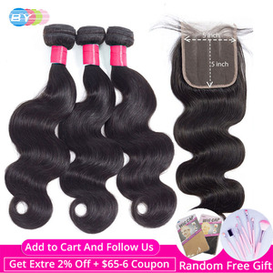 Image 1 - Body Wave Bundles With Closure 5x5 Closure With Bundles Brazilian Hair Weave Bundles Human Hair Bundles Remy Hair Extension BY