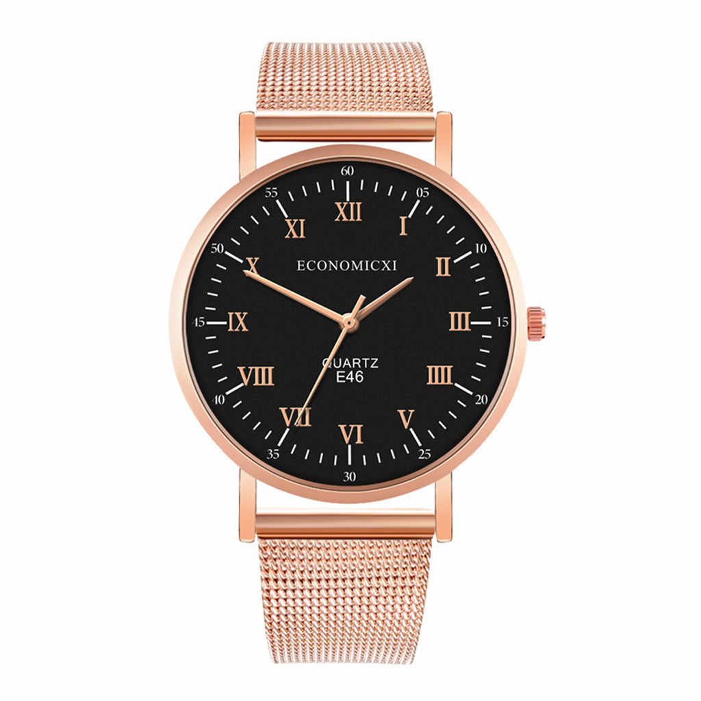 רטרו רומי חיוג שעון איש אנלוגי קוורץ שעון יד נירוסטה גברים Relogio Masculino מזדמן זכר שעון שעוני יד Q4
