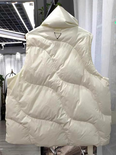 FMFSSOM Loose Causal  90%  White Duck Down Jacket Women Sleeveless Asymmetric Length Beige Spring Autumn Windpoof Basic Outwear 2