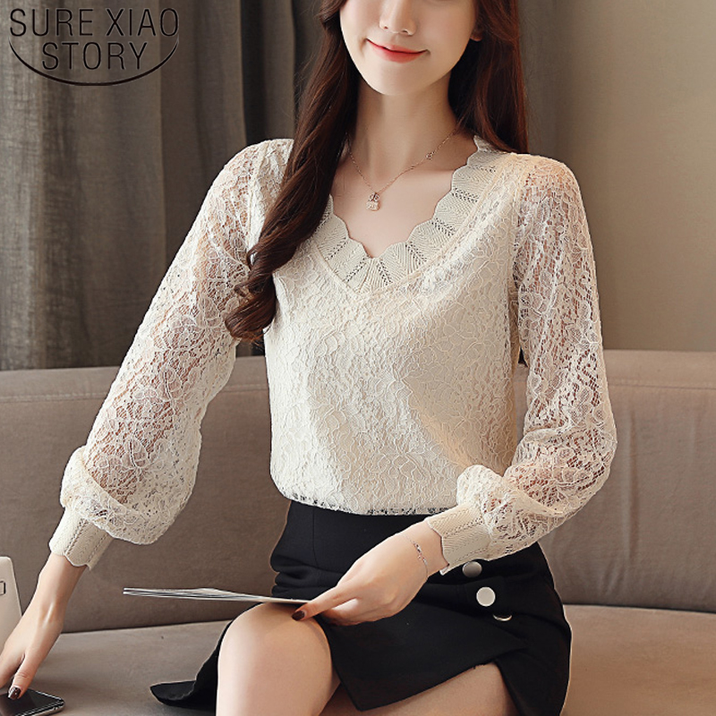 2020 New Fashion Solid Women Tops Elegant Casual Women Blouse Lace Long Sleeve V-neck Women Clothing Autumn Korean Style 5958 50