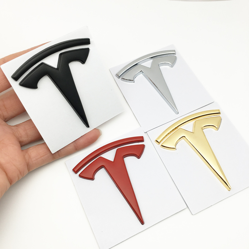 3D Car Styling Sticker Metal For Tesla Model S Model X Logo  Emblem Rear Tailgate Badge Window Body Decals Decoration Stickers
