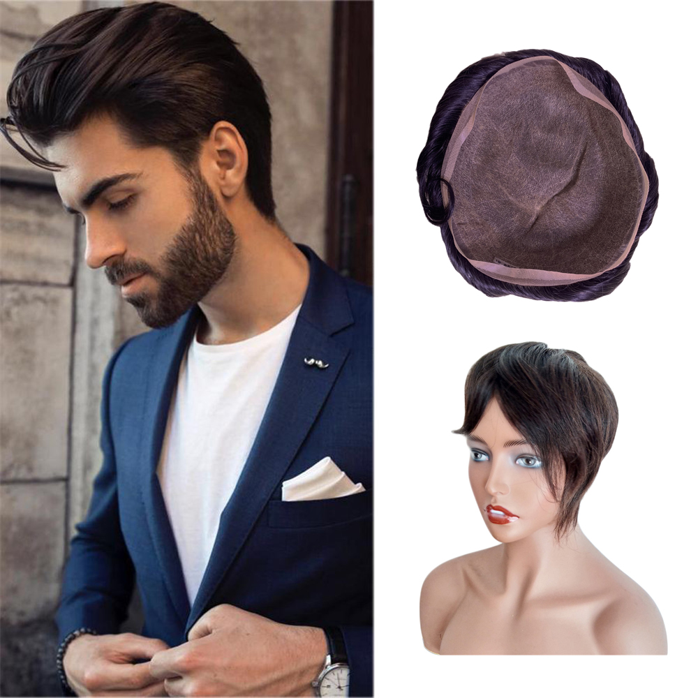 BYMC Full Lace Indian Natural Looking Men Wig Transparent Lace Replacement Systems Remy Hair 6inch Free Part
