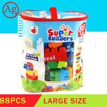 88pcs New Large Mega Size Building Blocks Big Size Super Builder Bricks Kids Creative Baby Education Toys for Children Gifts