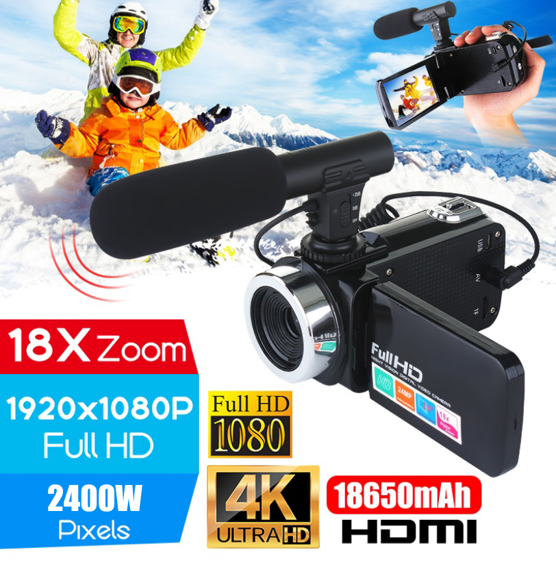 Camcorder Camera Touch-Screen Professional Digital Night-Vision LCD 4K with Microphone