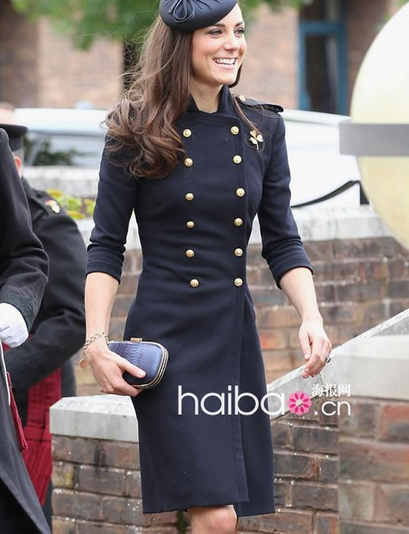 2018 New Designer Women Wool Coat Kate Middleton Double Breasted Long Sleeve Coat J019