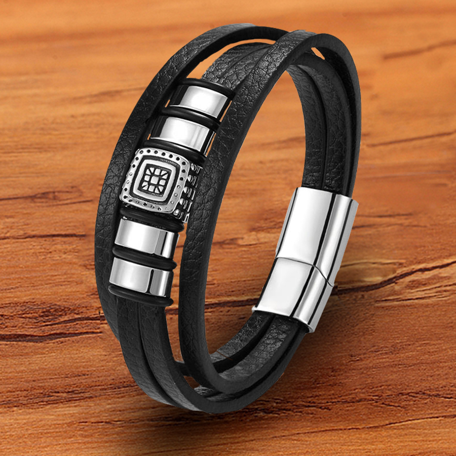 Trendy Woven Charm Stainless Steel Magnetic Rope Layered Black Genuine Leather Bracelet For Men Unisex Hand Accessories Jewelry