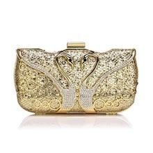 Женская вечерняя сумочка с металлическим каркасом, украшенная кристаллами, Модный повседневный клатч, элегантная сумка на плечо, вечерние сумки, Клубные сумки