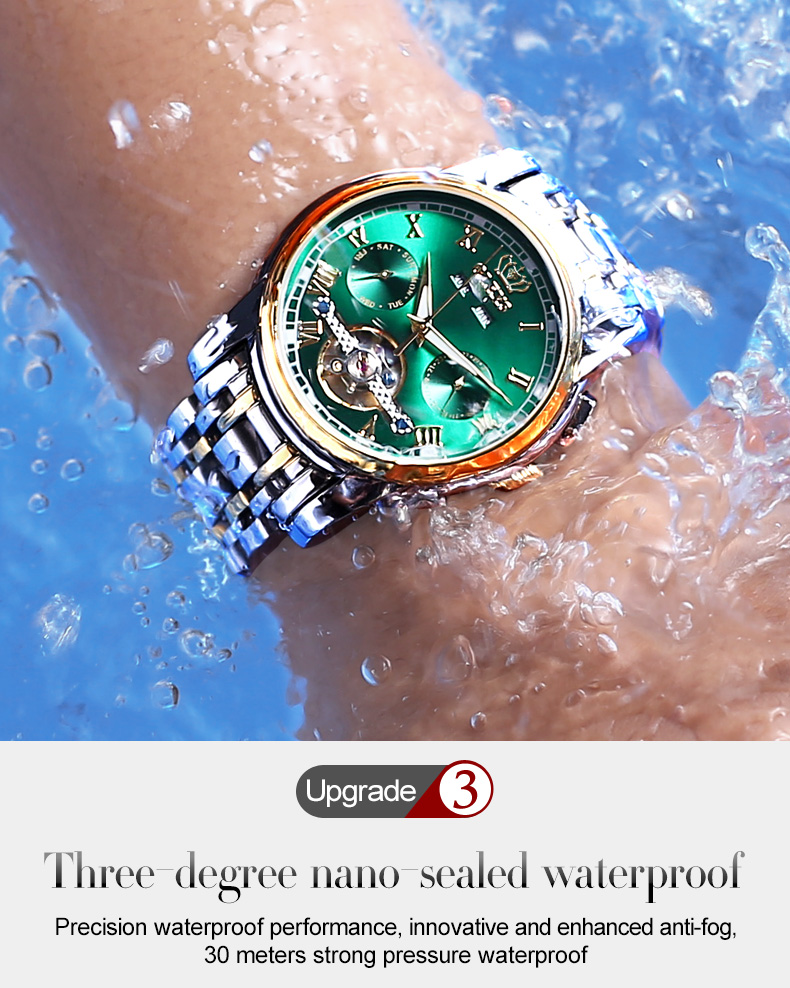 dwaterproof água negócios pulseira de aço inoxidável