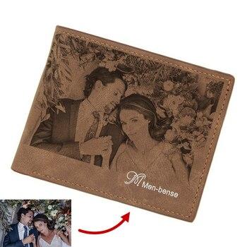 Cartera personalizada DIY con grabado de patrón de cuero de los hombres bi-fold foto billetera personalizada con foto y mensaje de escritura