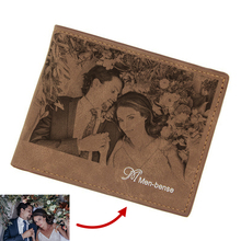 цена на DIY Wallet Custom Pattern Engraving Men's Leather Bi-fold Photo Wallet Personalized Wallets With Photo And Handwriting Message