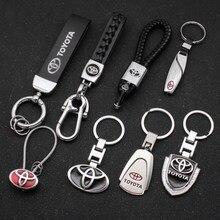 Металлический + Кожаный Автомобильный Брелок для ключей для Toyota Camry Corolla Auris Ralink Avensis T25 Yaris Rav4 Prado CHR аксессуары