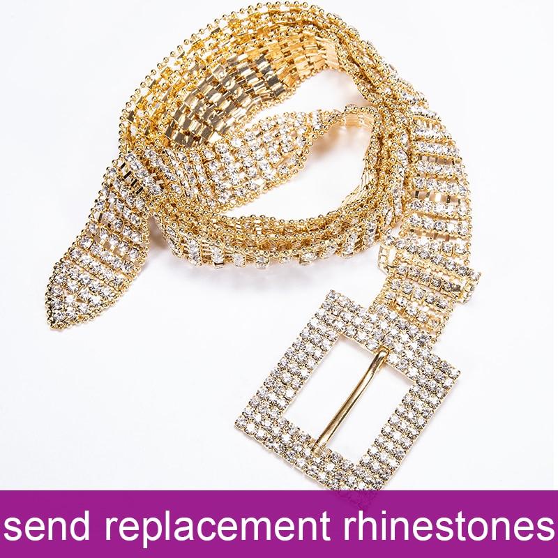 105cm Luxury Women's Gold Shiny Full-Rhinestone Belt Female Bright Bride Bling Crystal Diamond Waist Chain Belt For Party Weddin