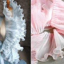 18cm Einzigen Schicht Plissee Welle Spitze Trim Blau Rosa DIY Rüschen Falten Applique Kragen Hochzeit Kleid Decor Designer Zubehör