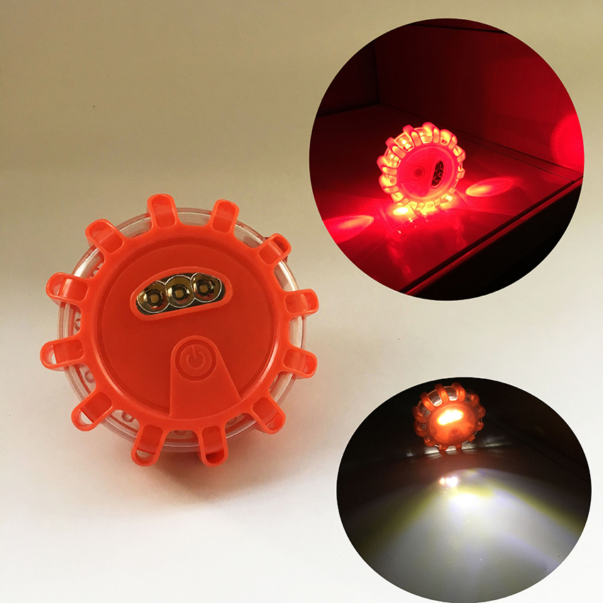 LED Emergency Flashing Light For Road, 9 Modes, Accident Warning Flares Light With Magnetic Base For Car Marine Vehicles