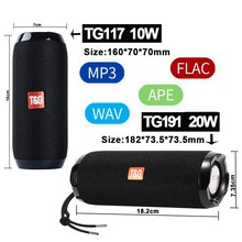 Portátil falante estéreo Bluetooth a partir de, coluna de graves sem fio e à prova d' água para uso ao ar livre, com subwoofer, compatível AUX, TF,
