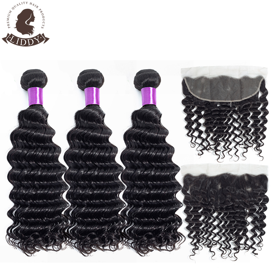 Liddy Deep Wave Brazilian Bundles With Frontal 3 Bundles Human Hair With Lace Frontal 13x4 Free Part Non Remy Hair