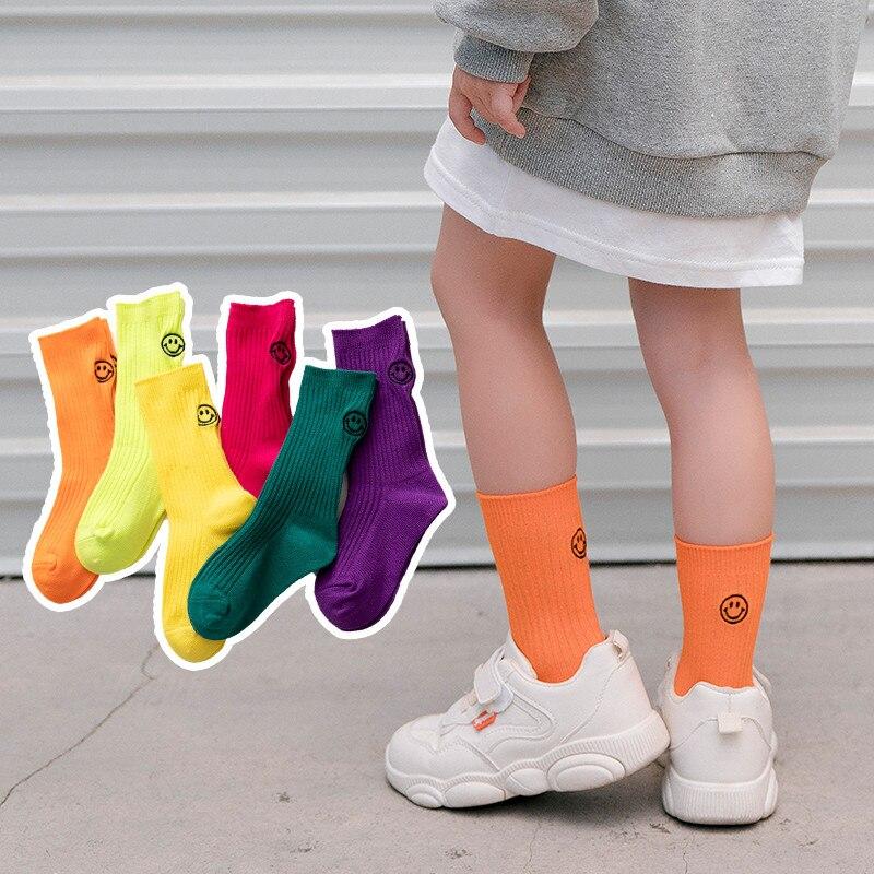 Cute Boy Crew Socks Girls Smile Face Dinosuar Cotton Sock Pack of 5 for Little Kids Teenagers