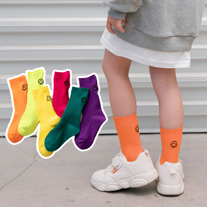 Children Socks Embroidered Smile Spring&Autumn Rainbow Candy Colors Student Girls Socks With Boys Socks 1-12 Year Kids Socks