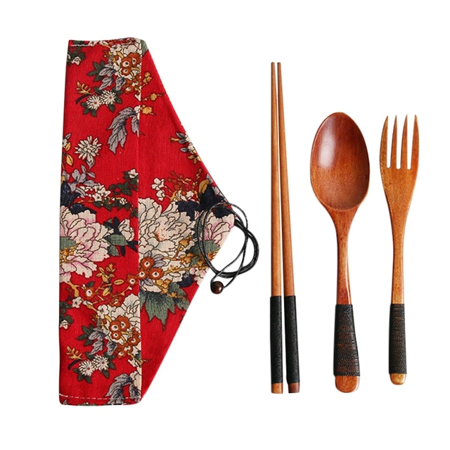 4pcs/set Kitchen Utensil with Cloth Bag Bamboo Reusable Portable Wooden Cutlery Set Spoon Fork chopsticks for Travel Outdoor 5