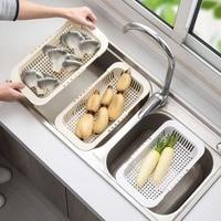 Tensible Sink Rack Drain Basket Dish Drying Rack Vegetables Fruit Storage Basket Drainer Dish Rack Over Sink Kitchen Organizer|Racks & Holders|   -