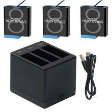 Batterie noire pour GoPro Hero 8, 7, 6, 5, avec Triple chargeur, appareil photo noir