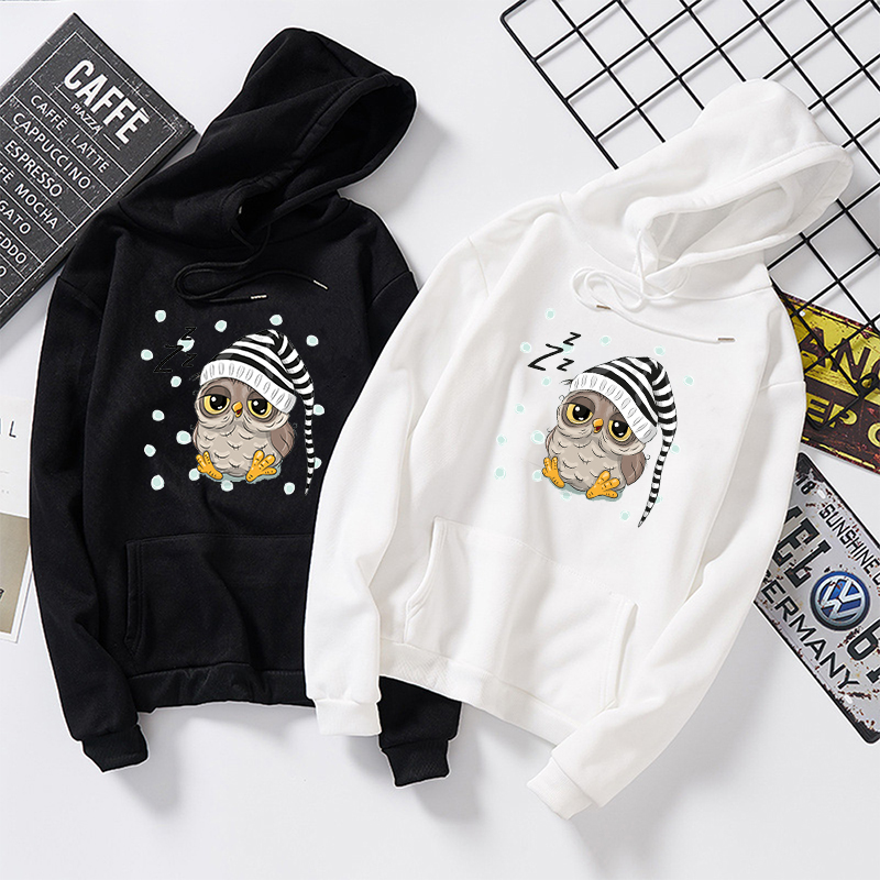 Women Owl Hoodie Autumn Long Sleeve Sweatshirt Pocket Drawstring Kawaii Hooded Solid Color Casual Pullovers Streetwear Hoody Top